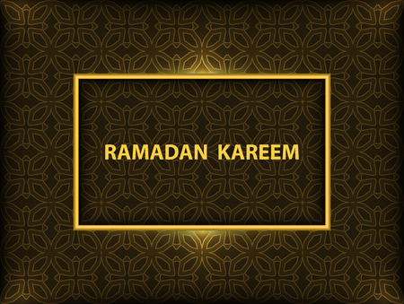 Ramadan Kareem greeting card with gold frame and pattern on black background.