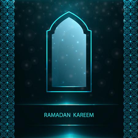 Ramadan Kareem greeting card with traditional blue window and pattern on black background. Çizim