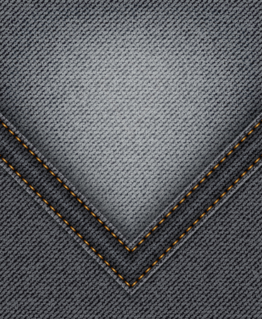 Black jeans angle with orange stitches on jeans background.