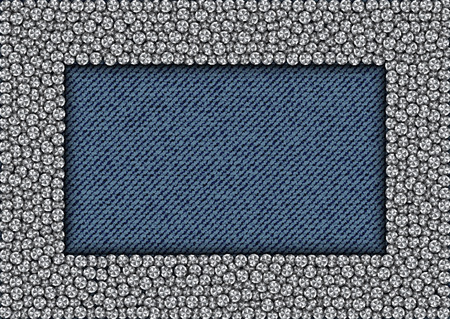 Silver sequine rectangle frame on blue jeans background.