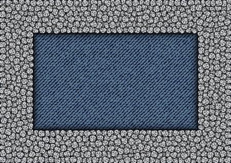 Zilver lovertjes rechthoek frame op spijkerbroek achtergrond.