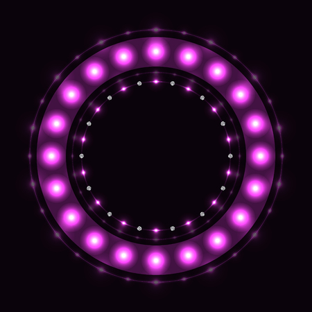 Abstract violet round sparkling circle on black background. Çizim