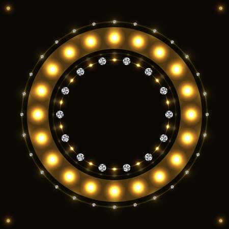 Abstract gold round sparkling circle on black background.