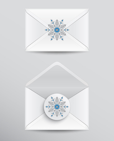 A set of opened and closed envelopes with snowflake seal isolated on white background.
