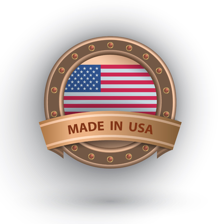 Made in USA sign with ribbon and flag inside.