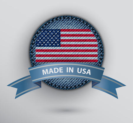 Blue circle jeans badge with American flag inside and ribbon with sign Made in USA. Stok Fotoğraf - 104450376