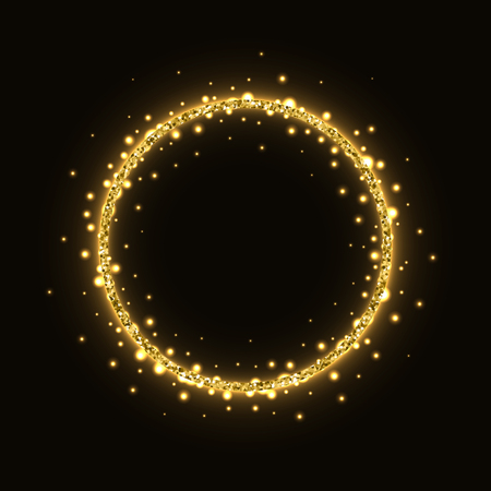 Abstract gold circle glittering shining frame on black background. Çizim