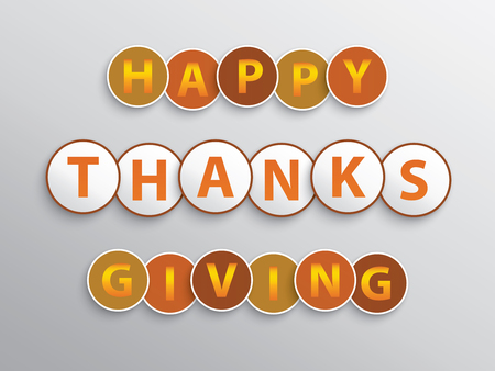 Happy Thanksgiving lettering with letters inside of circles. Stok Fotoğraf - 110020590