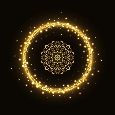 Abstract gold circle glittering shining frame with mandala on black background.