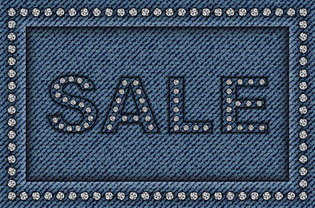 Blue jeans frame with sequins and sale sign.