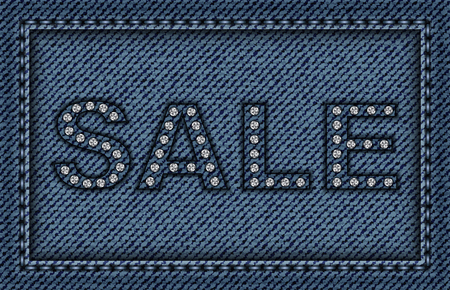Blue jeans frame with stitches and sale sign. Çizim