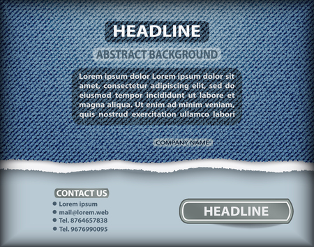 Blue jeans denim layout with torn edge and text template.