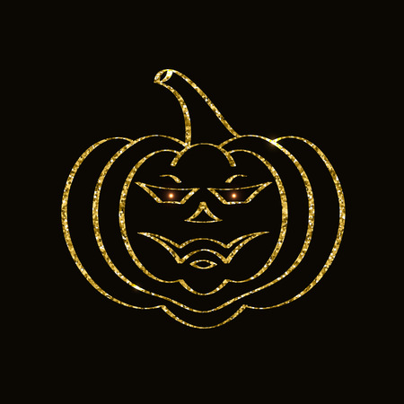 Golden glittering pumpkin icon on black background. Stok Fotoğraf - 109133848