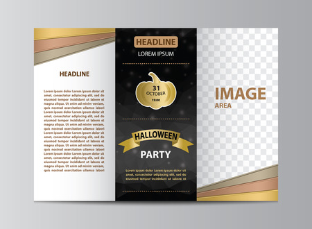 Tri-fold brochure template layout for Halloween party in size A4. Çizim