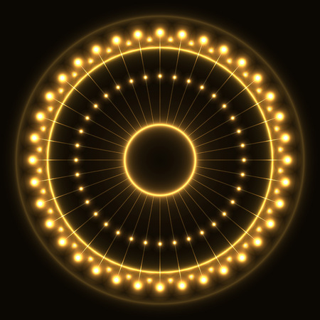 Abstract yellow ring with light effect.