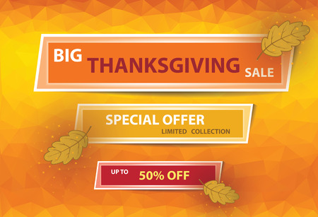 Thanksgiving sale poster with banners on orange background.