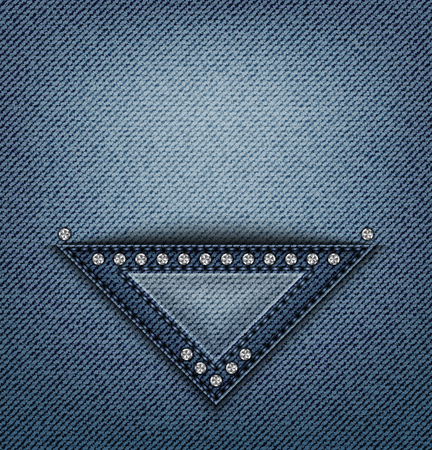 Blue jeans triangle design with stitches and sequins on denim. Иллюстрация