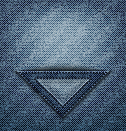 Blue jeans triangle pocket with stitches on denim.