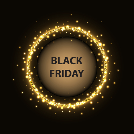 Black Friday poster with glittering circle and light effect on black background.