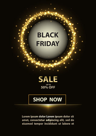 Black Friday sign with glittering circle and promotion text on black background.