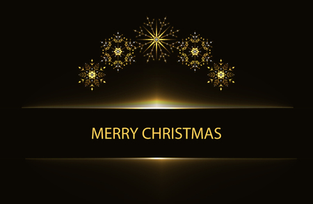 Christmas greeting poster with golden snowflakes on black background.