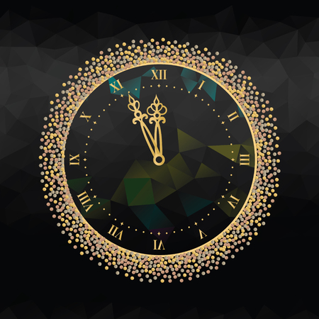 New Years Eve clock with Roman dial on black background.