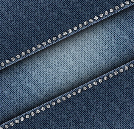 Diagonal jeans texture with silver sequins and internal jeans strip. Illustration