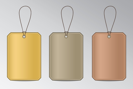 Set of metal tags with string in gold, silver and bronze colors for infographic. Çizim