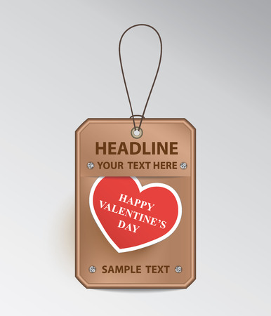 Bronze tag with string and red Valentine's Day greeting card. Illustration