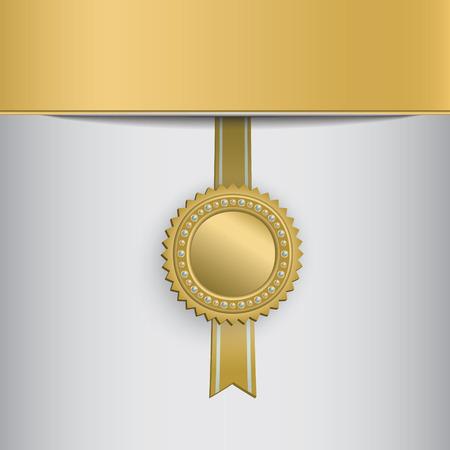 Gold circle award badge hanging on ribbon. Stok Fotoğraf - 126802103