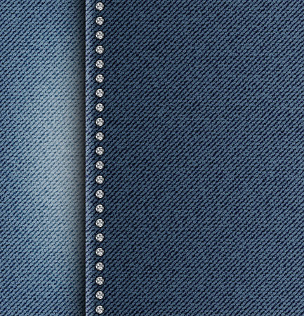Blue jeans texture with left side strip and row of silver sequins. Stockfoto - 117179562