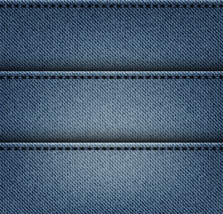 Blue jeans texture with horizontal stripes and stitches.