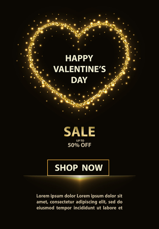 Valentines day banner with glittering heart and promotion text on black background. Çizim