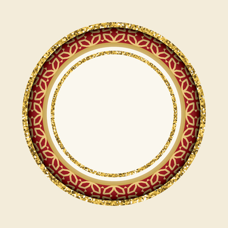 Round cutout frame with gold glitter and ornament.