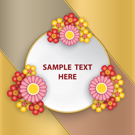 Round white frame with flowers on colorful background. Stok Fotoğraf - 117179632