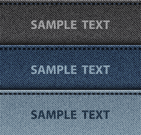 Set of jeans horizontal stripes with stitches and text samples.
