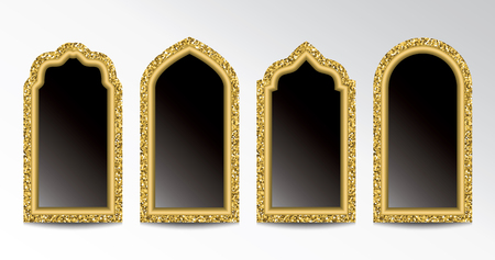 Glittering gold arabic windows template Stok Fotoğraf - 117179707