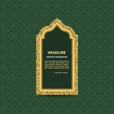 Gold glittering arabic window on green background with pattern. Stok Fotoğraf - 117179715