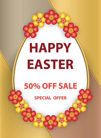 Easter egg greeting poster with flowers and text on colorful background.