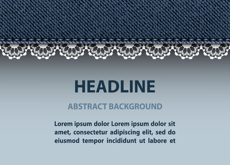 Background with blue jeans stripe and white lace. Stok Fotoğraf - 117180058
