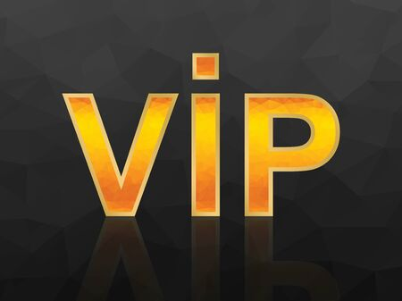 Vector VIP icon with orange fiery polygonal mosaic on black background. Çizim