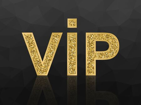 Vector VIP golden glittering icon on black polygonal background.