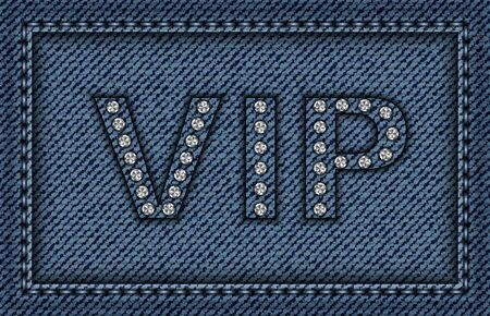 Jeans VIP vector poster with diamonds. Stok Fotoğraf - 133949511