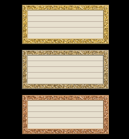 Set of glittering frames isolated on black background.