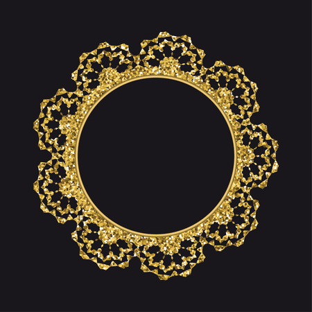 Golden glittering round lace vector template isolated on black background.