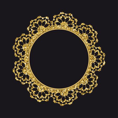 Modèle de vecteur de dentelle ronde scintillante doré isolé sur fond noir. Vecteurs