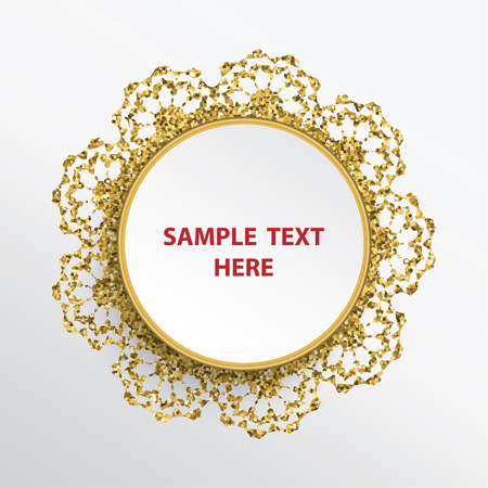 Golden glittering round lace frame on white background. Stok Fotoğraf - 124651308