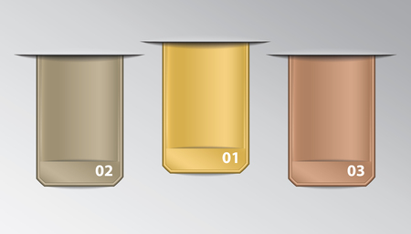 Set of rectangle stickers in horizontal slits with numbers in gold, silver and bronze colors for infographic.