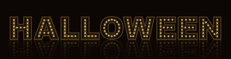 Neon shining HALLOWEEN symbol with golden gemstones on black background. 向量圖像
