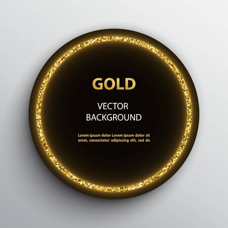 Round black poster with golden glittering frame on white background.